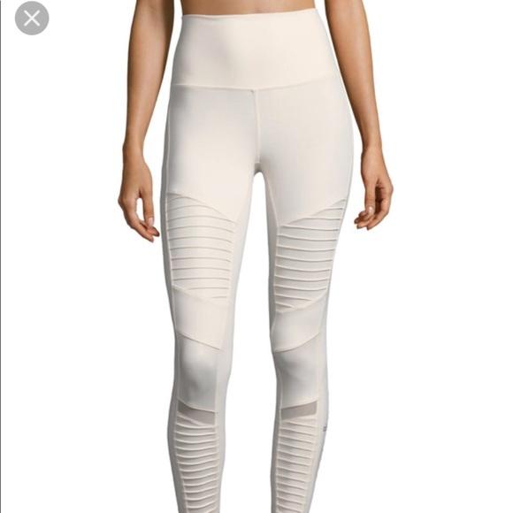 ALO Yoga Pants - High Waist Moto Legging Pristine White 0f303a88028d